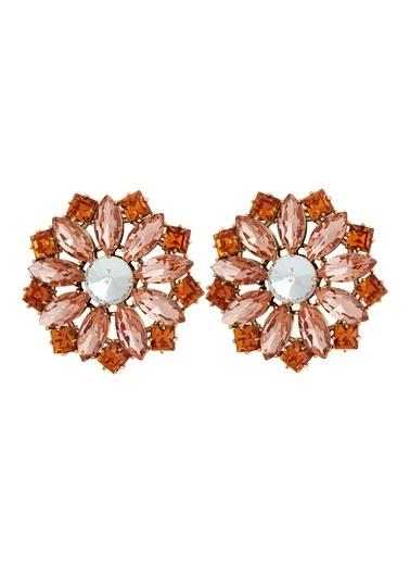 Ninon Ninon Maksim Mandarin & Peach Kristal Küpe Oranj